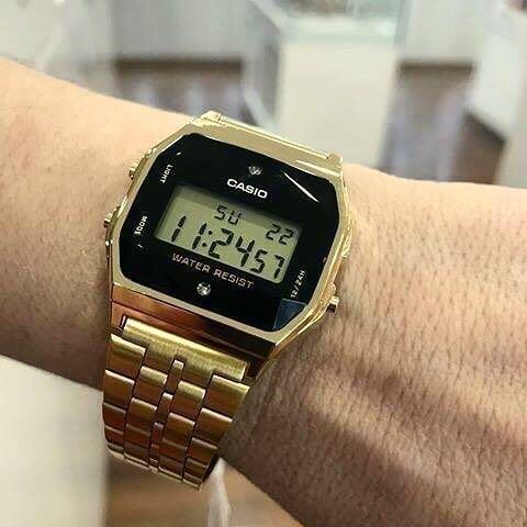 Casio VINTAGE A159WGED-1D Unisex Digital Natural Diamonds YOUTH Design Gold Stainless Steel Strap Original Watch A159WGED