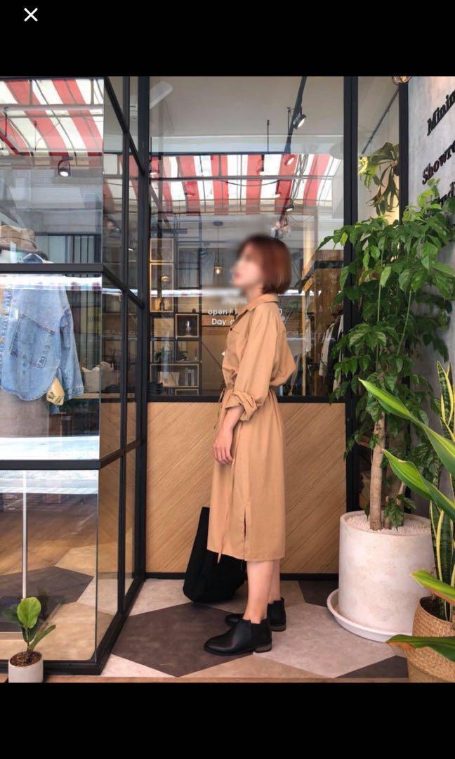 正韓 2way側抽繩襯衫式洋裝
