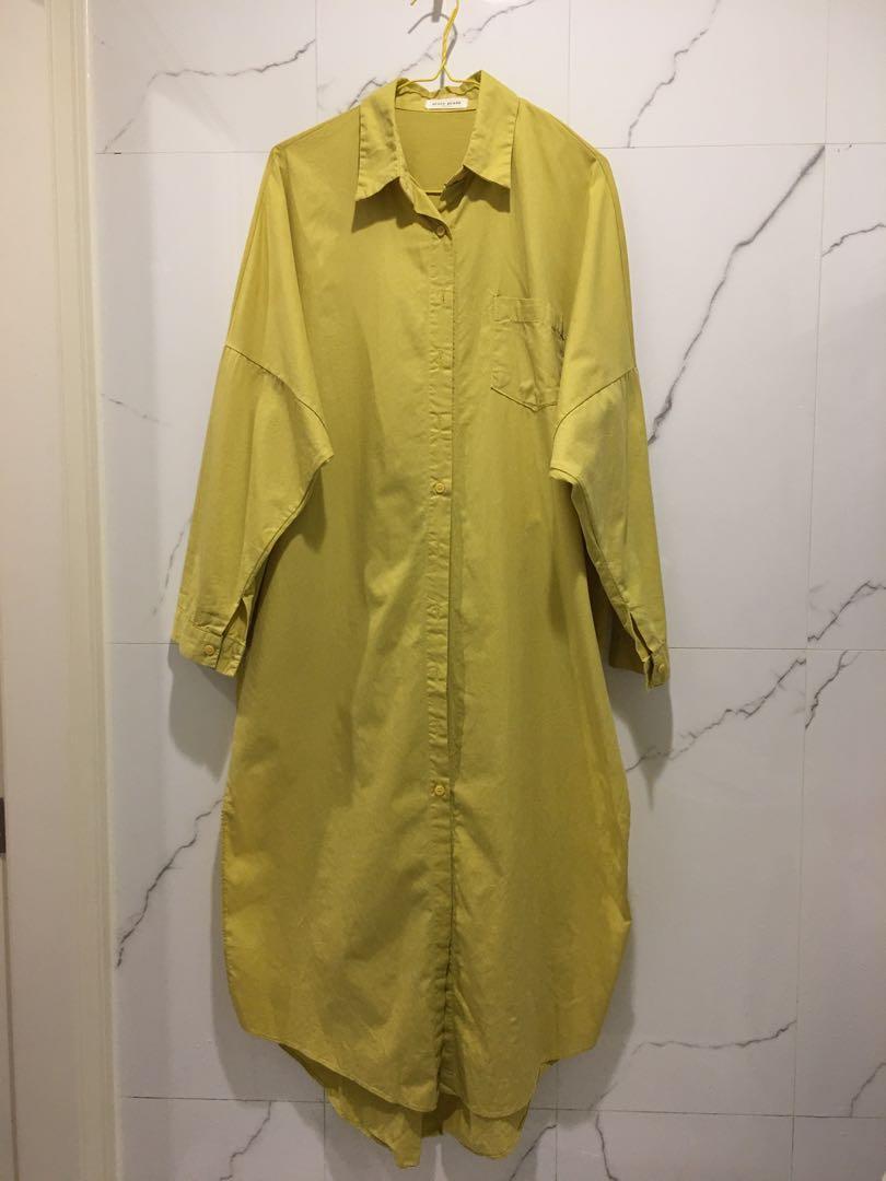 正韓 芥黃長襯衫 長版罩衫 側開叉 芥末黃