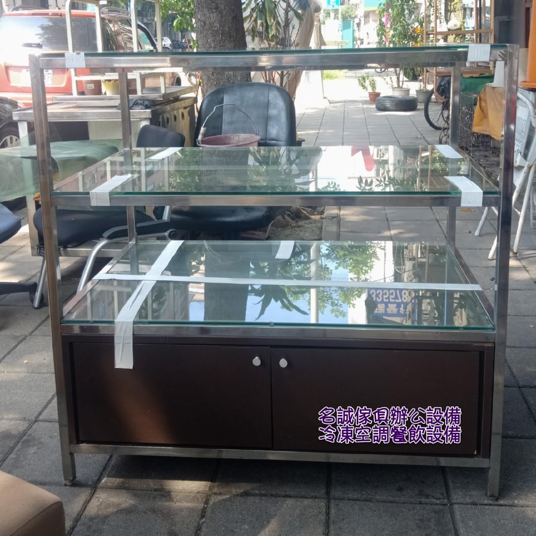 名誠傢俱辦公設備冷凍空調餐飲設備 玻璃展示櫃 雙面櫃 櫥窗 工作台