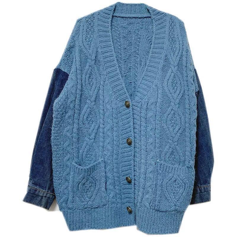 冬裝搶先買❤️ 粗針麻花拼接牛仔袖 寬鬆版  異材質拼接  針織外套