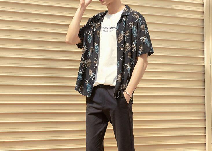 韓國品牌 Hconnect 男生短袖襯衫 鳳梨襯衫