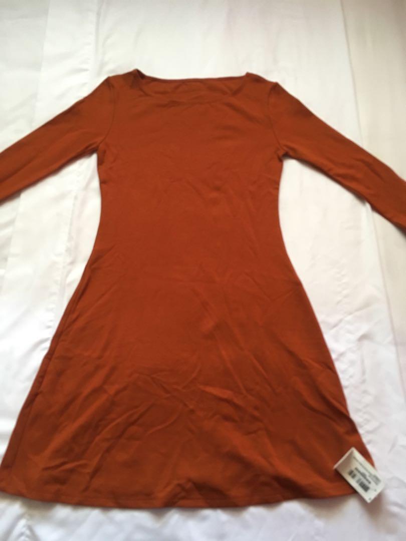 American Apparel Long Sleeve Ponte Mini Dress (Umber; Size S)