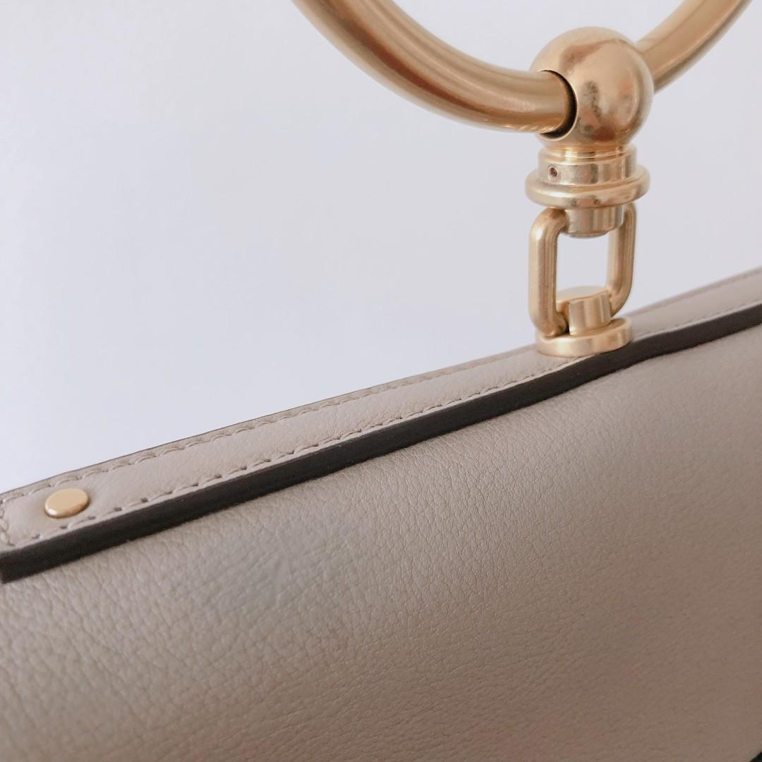 Authentic Chloé Nile Minaudiere Smooth Calfskin Bag in Motty Grey