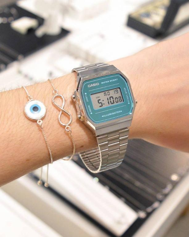 Casio VINTAGE A168WEM-2D Unisex Digital Blue Mirror Finishing Face YOUTH Design Silver Stainless Steel Strap Original Watch A168WEM