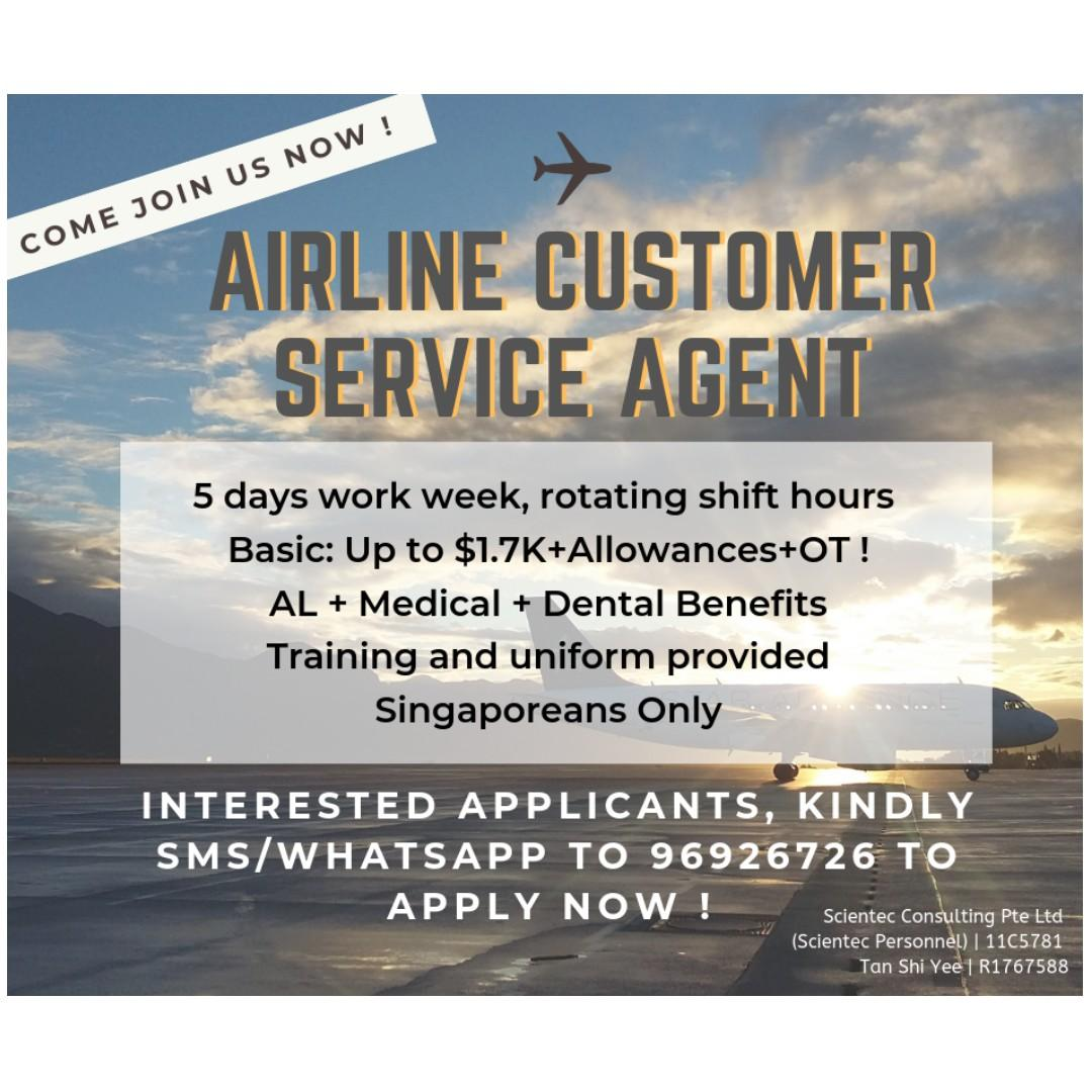 AIRLINE AGENT @ CHANGI AIRPORT (5 DAYS, SHIFT HOURS)