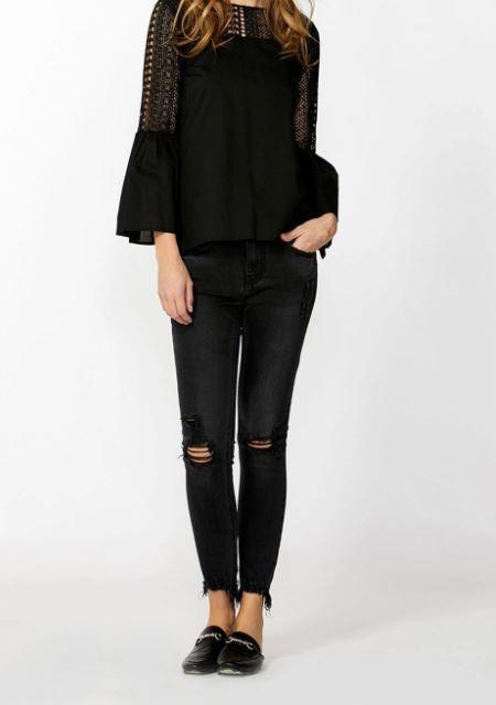 Decjuba Brodie Mullet Hem Fray Crop Jeans - Washed black - Sz 6