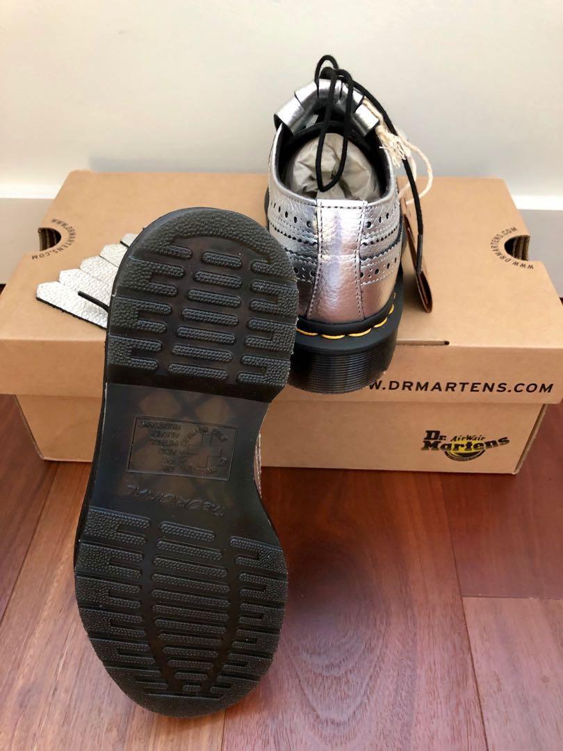 DR MARTENS 3989 Kiltie Metallic Silver Lace-up Brogue shoes
