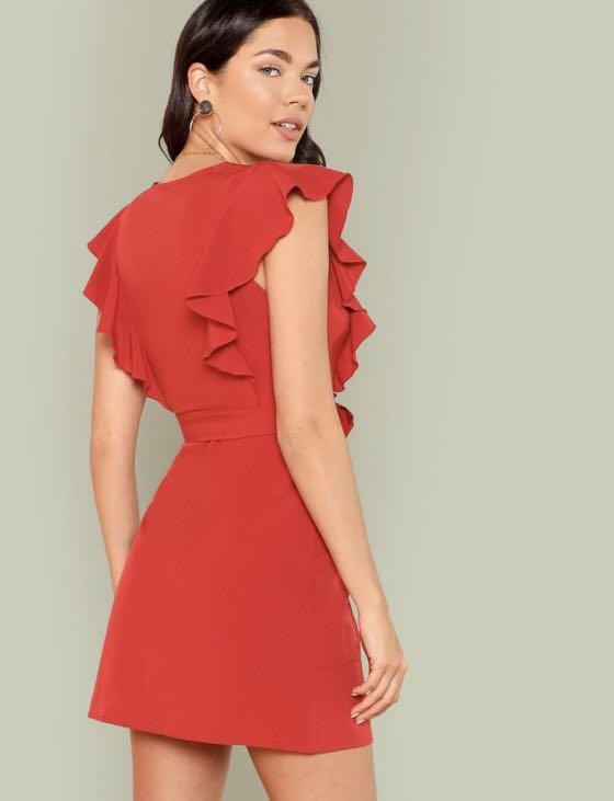 DRESS GAUN TOP ATASAN MERAH RED SHORT MINI