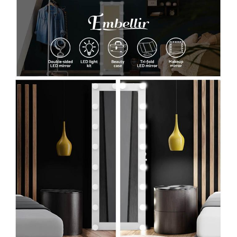 Embellir Full Length Mirror Floor Standing Makeup Wall Light Bulbs 1.5M Mirror