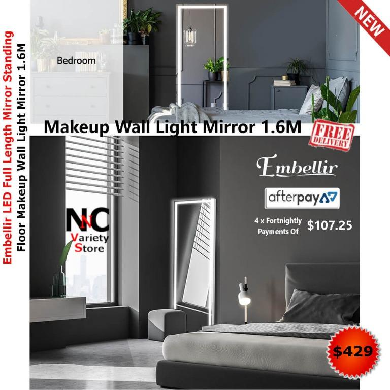 Embellir LED Full Length Mirror Standing Floor Makeup Wall Light Mirror 1.6M