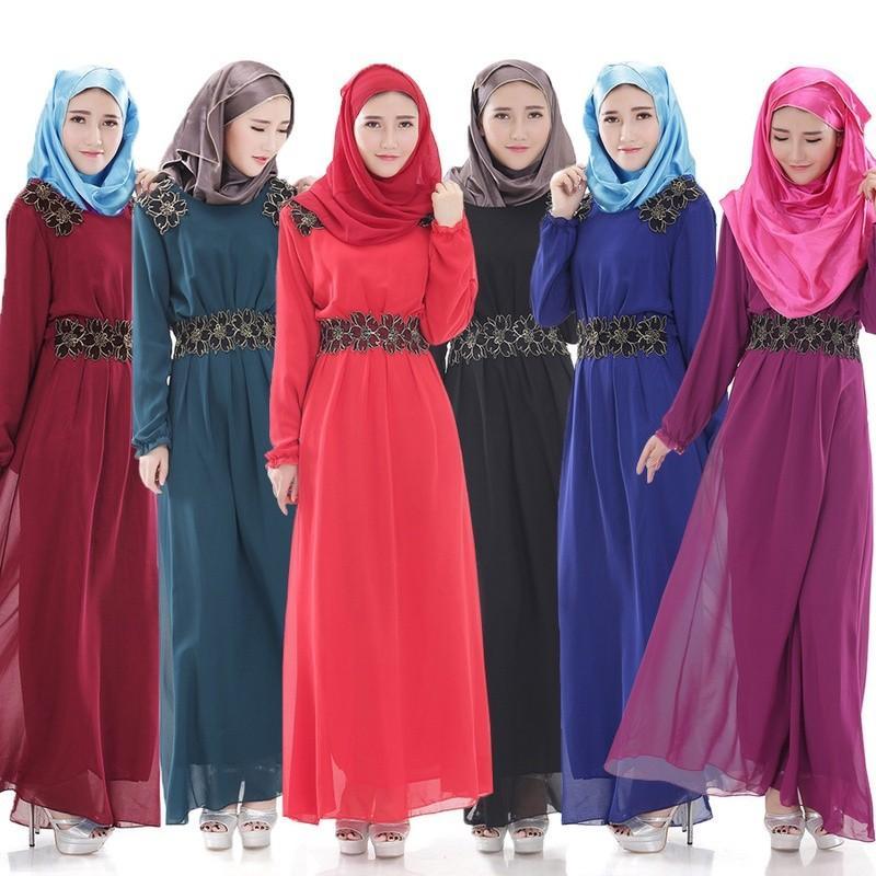 Gaun Muslim Sifon Musim Semi