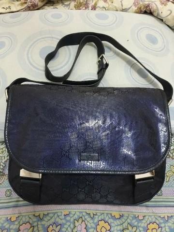 Gucci flap navy GG PVC messenger bag original authentic not hermes LV bally prada