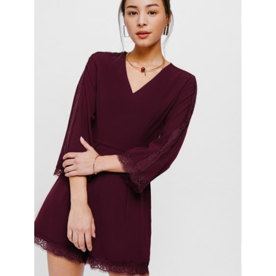 love bonito lb ohena lace trim playsuit in maroon wine red crochet