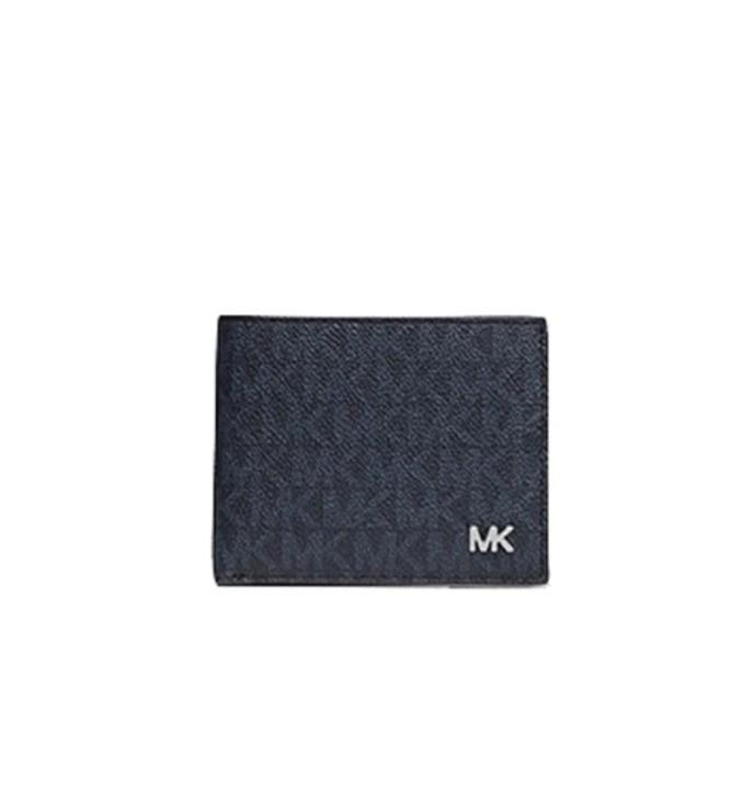 Michael Kors Cooper Billfold Wallet With Passcase In Simature Coated Canvas Blatic Blue