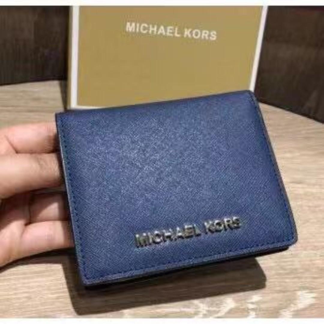 MK 防刮藍色翻蓋錢包 短夾