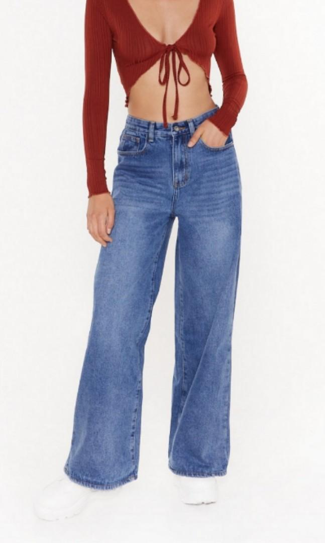 Nastygal baggy wide leg jeans (size 2)