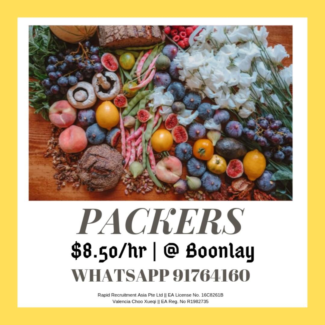 PACKERS @ WEST ( $8.50 /HR | 3 MONTHS | IMMEDIATE )