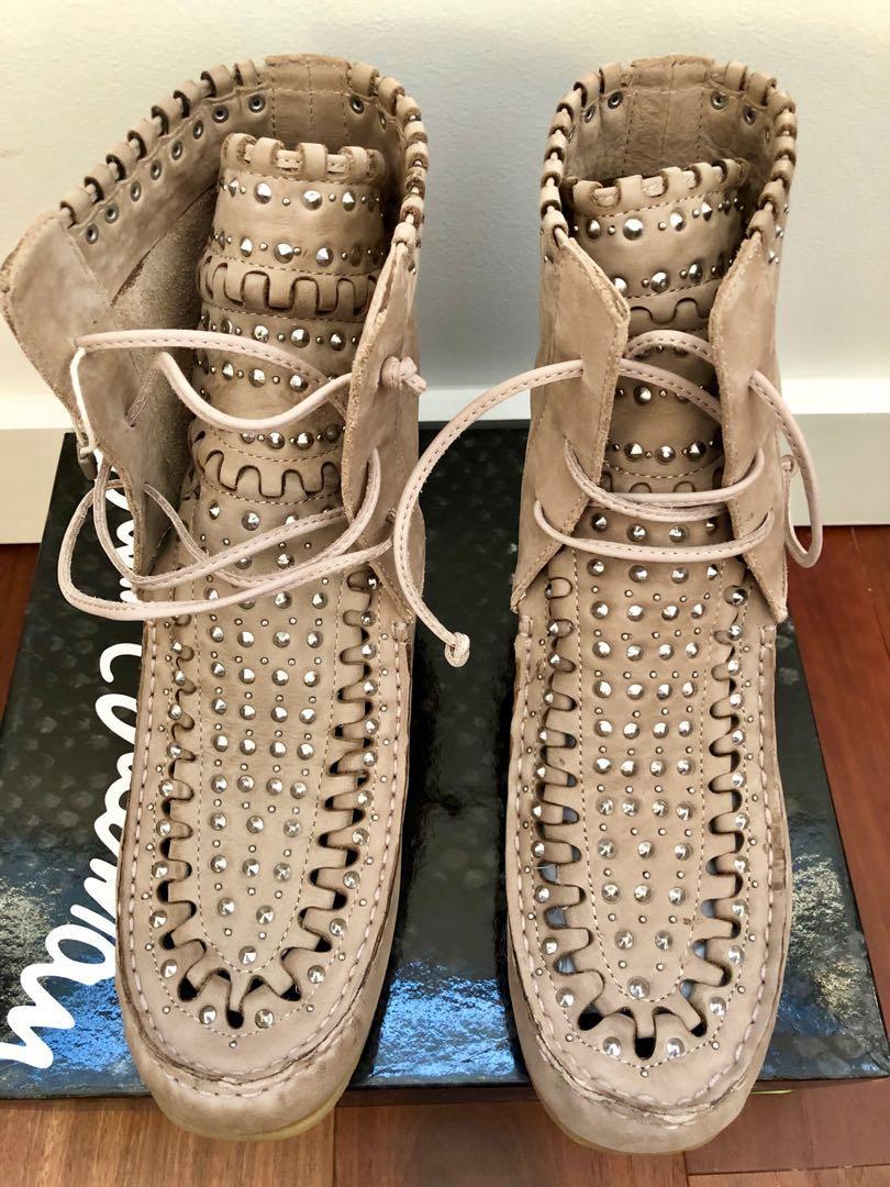 "SAM EDELMAN ""Katelyn"" Studded Suede Ankle Moccasin Boots"