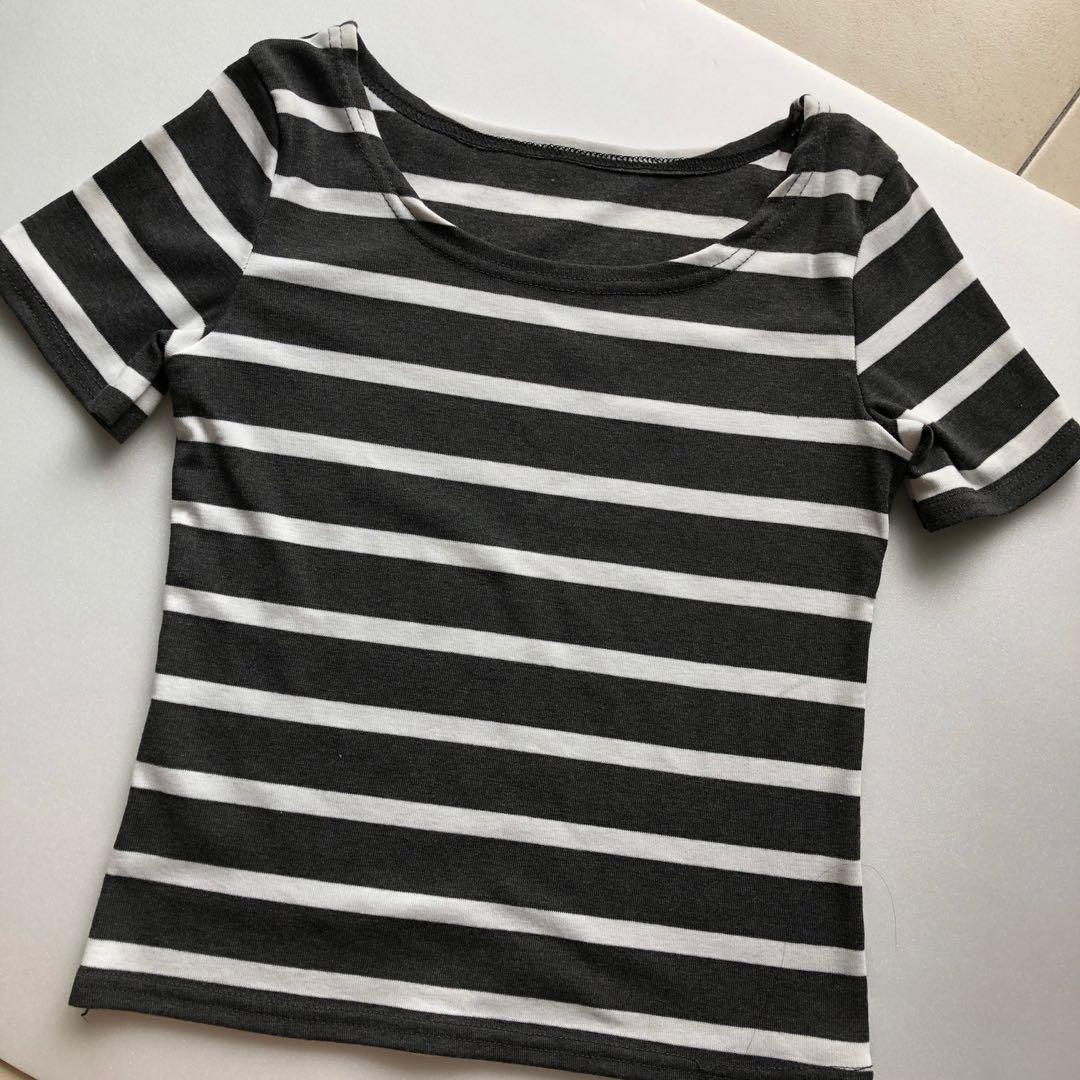 Stripes Semi Crop Top