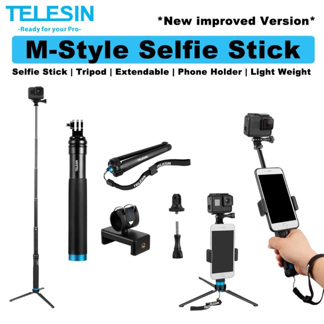 TELESIN Monopod Action Camera Gopro Aluminum Extendable M Style Telescopic  Selfie Stick with Tripod