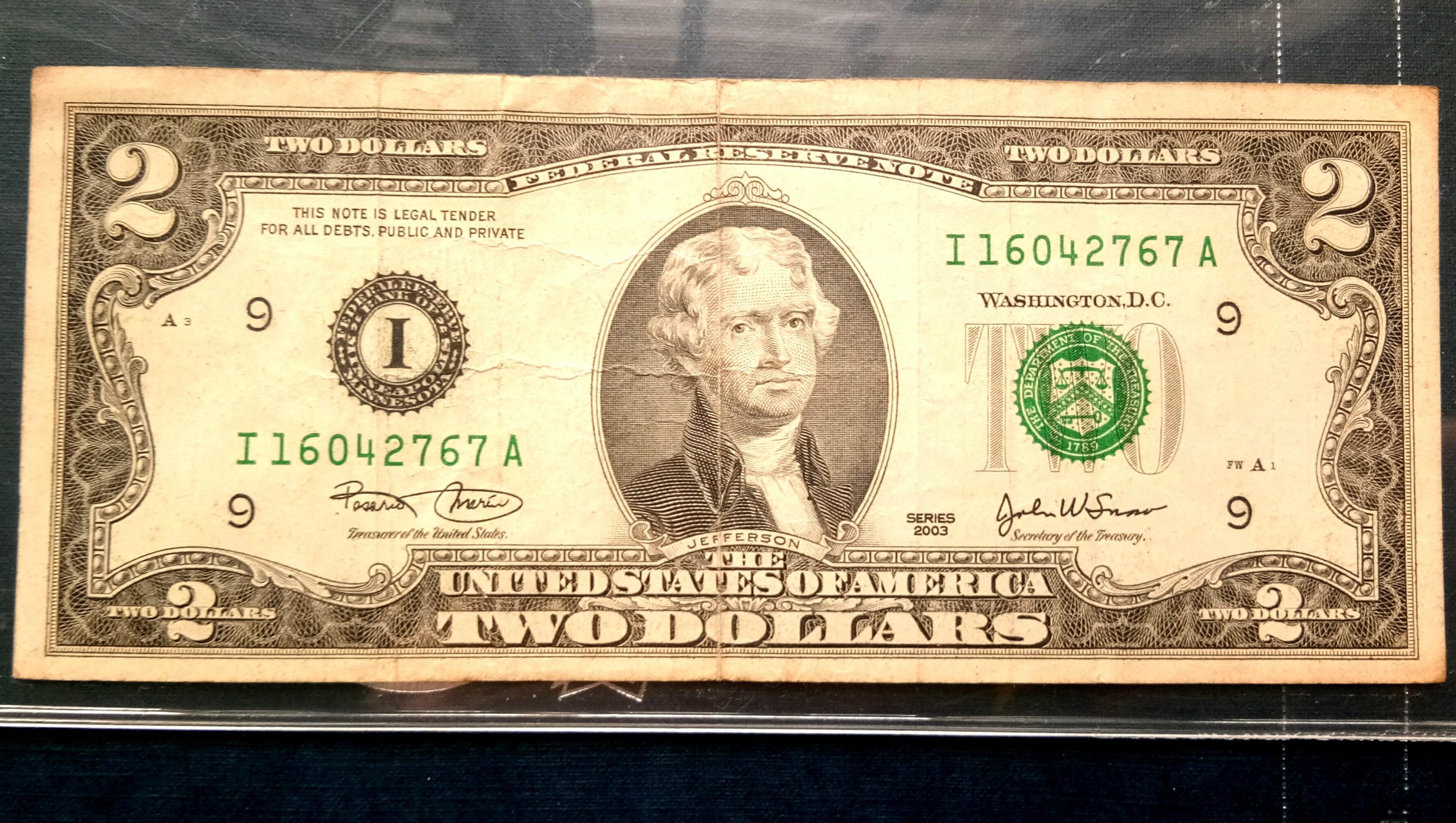 USA Currency 2 Dollar United States of America Banknote Wang Kertas Lama US $ 2