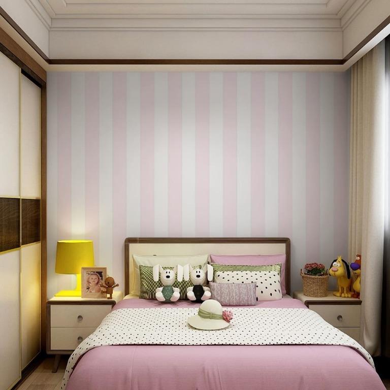Wallpaper Dinding Motif Kamar Anak Garis Garis Perabotan Rumah Di Carousell
