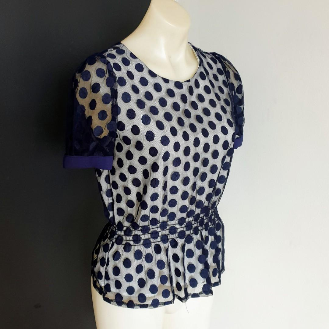 Women's size S 'GUNNY GIRLS' Gorgeous navy polka dot mesh peplum top- AS NEW