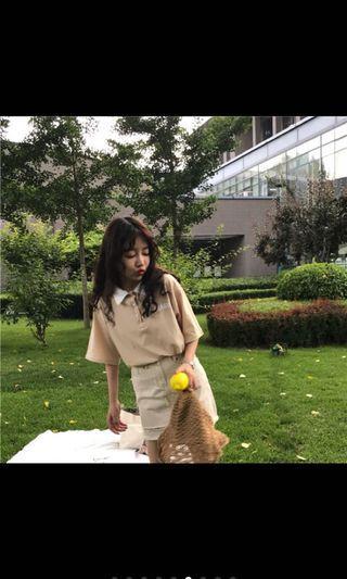 杏色polo衫 短袖 T恤