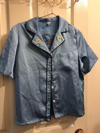 [二手]緞面襯衫藍色刺繡