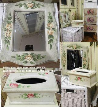 Astoria Set of 2 hand-painted Wall Mirror & Tissue Box Cover