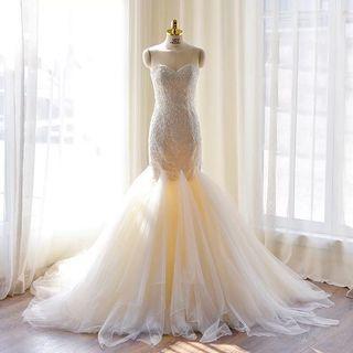 全新-蕾絲魚尾婚紗