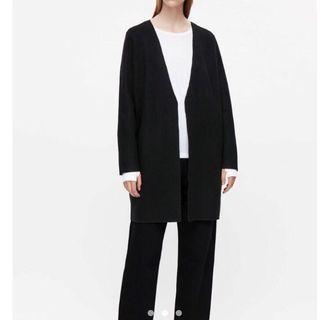 COS 黑色羊毛長版外套