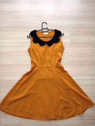 Mustard Dress with Peter Pan collar