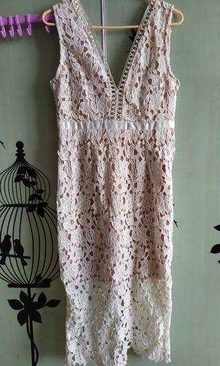 [Preloved] Super Premium White Prada Midi Dress Size L