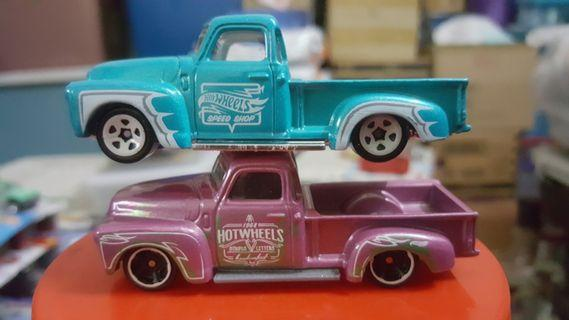 Hotwheels '52 Chevy Truck (Pink & Teal) lot of 2 rivet loose *classic *vintage *muscle #1010