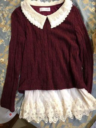 東京著衣 造型紅色針織毛衣