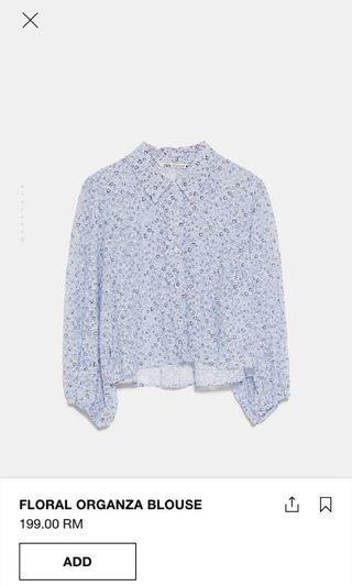 Zara floral organza blouse