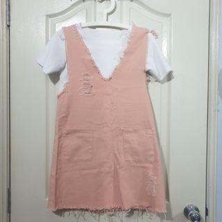 Peach Denim Dress