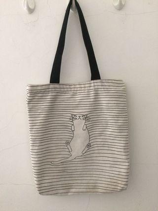 Tote Bag Cat Canvas