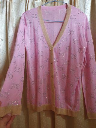 韓版💝Logo立體水鑽滾邊冰絲針織粉紫小外套💞