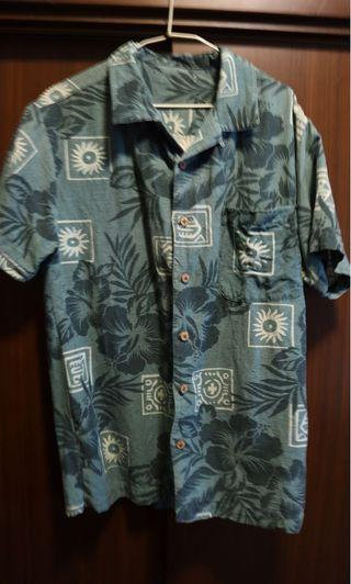 Vintage-水湖綠花襯衫