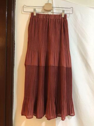 全新 磚紅 皺皺裙 百褶裙