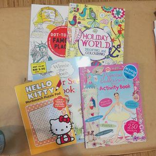 Set of Kids Activity Books: Wordsearch, Sticker Scenes, Colouring, Doodles, Dot-to-Dot