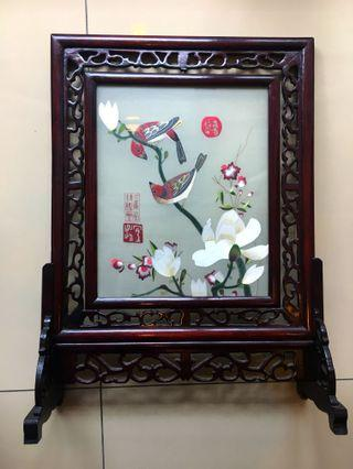 Chinese Silk Screen in Glass & Wooden Frame - Love Birds