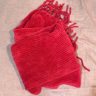 桃粉紅 圍巾 9成新