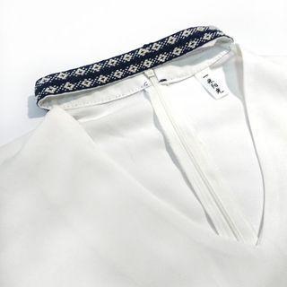 二手 白 雪紡 女生 上衣 民族風 頸圈 脖環 V領 七分袖 上班族 穿搭 網美