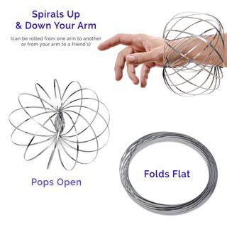 Spinner Ring Arm Slinkey Toy - Flow Rings Kinetic Spring Bracelet - Science Educational Sensory Interactive Cool Toys For Kids Boys Girls Adults - Spinning Metal Galactic Globe Vortex #winiphone11pro