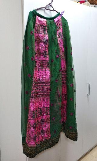Green and pink lengha