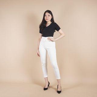 Jessa collection celana mia belt pants putih